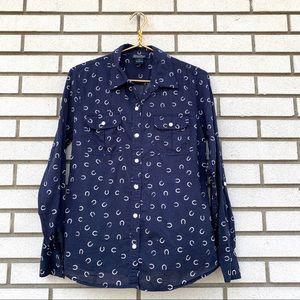 Lucky Brand Navy Long Sleeve Horseshoe Print Shirt